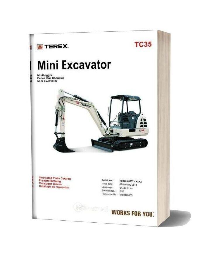 Terex Mini Excavator Tc35 Parts Manuals