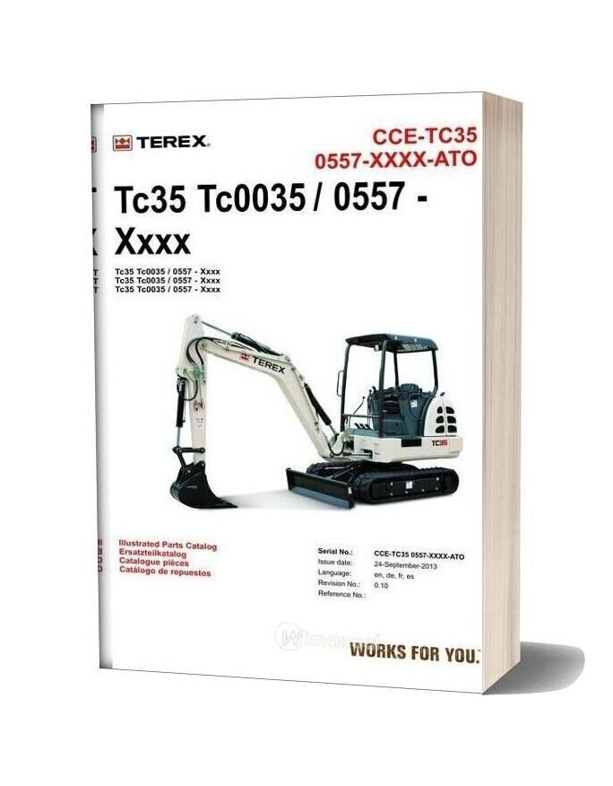 Terex Mini Excavator Tc35 S N 0557 Parts Manuals