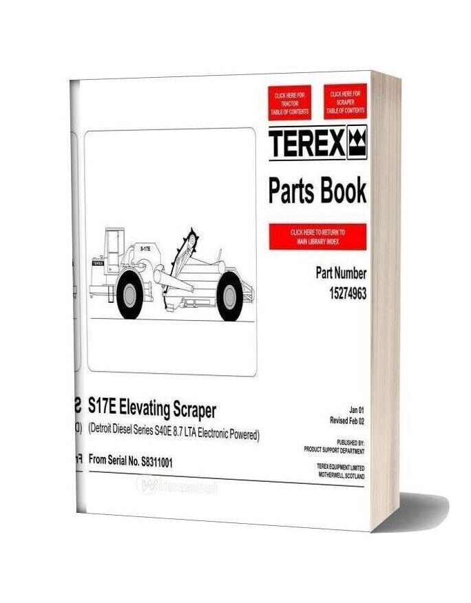 Terex S17e Elevating Scraper Parts Book