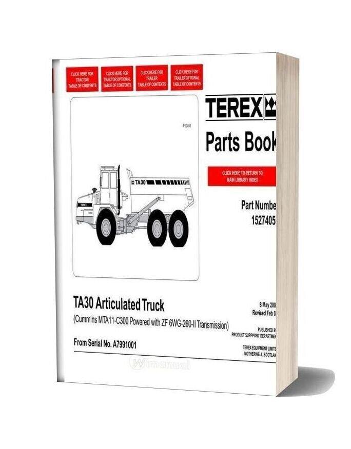 Terex Ta30 Articulated Truck Parts Book