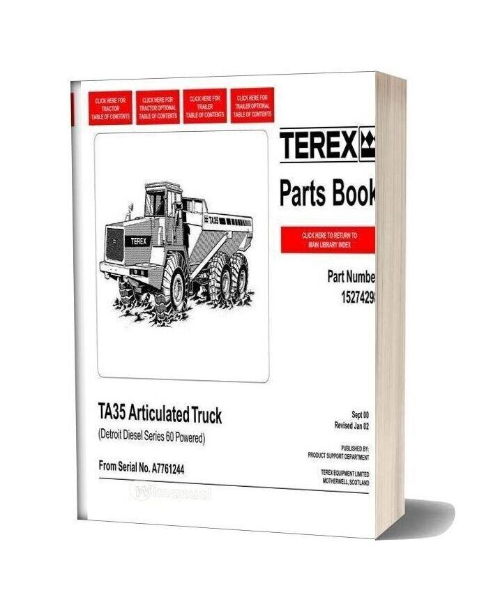 Terex Ta35 Articulated Truck Parts Book
