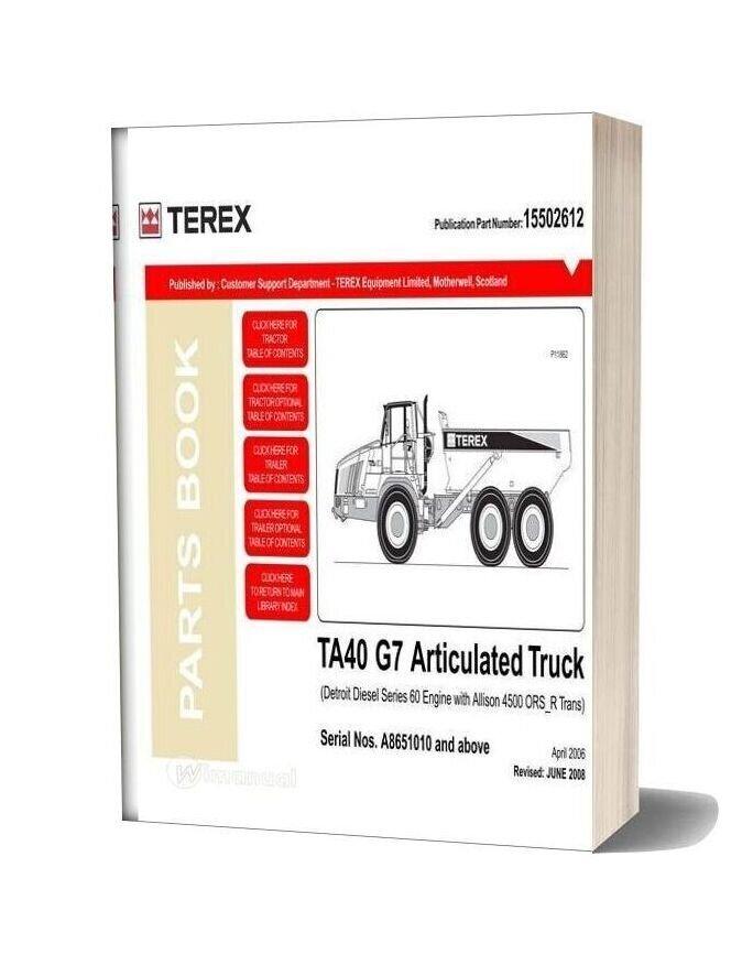Terex Ta40 G7 Articulated Truck Parts Book Manual