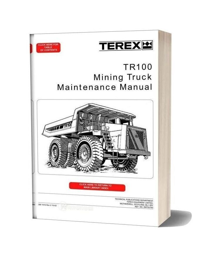 Terex Tr100 Mining Truck Maintenance Manual