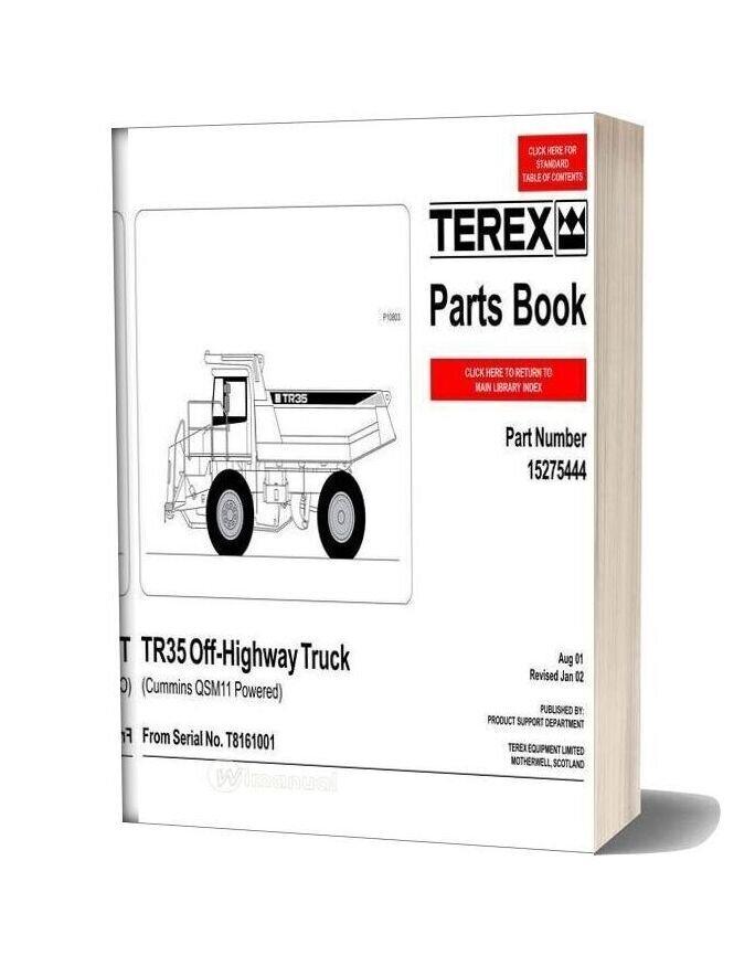 Terex Tr35 Off Highway Truck Parts Book-16t15654