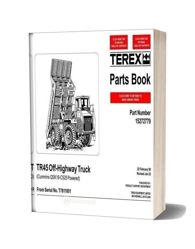 Terex Tr45 Off Highway Truck Parts Book