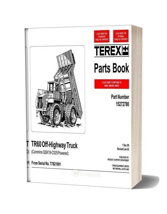 Terex Tr60 Off Highway Truck Parts Book