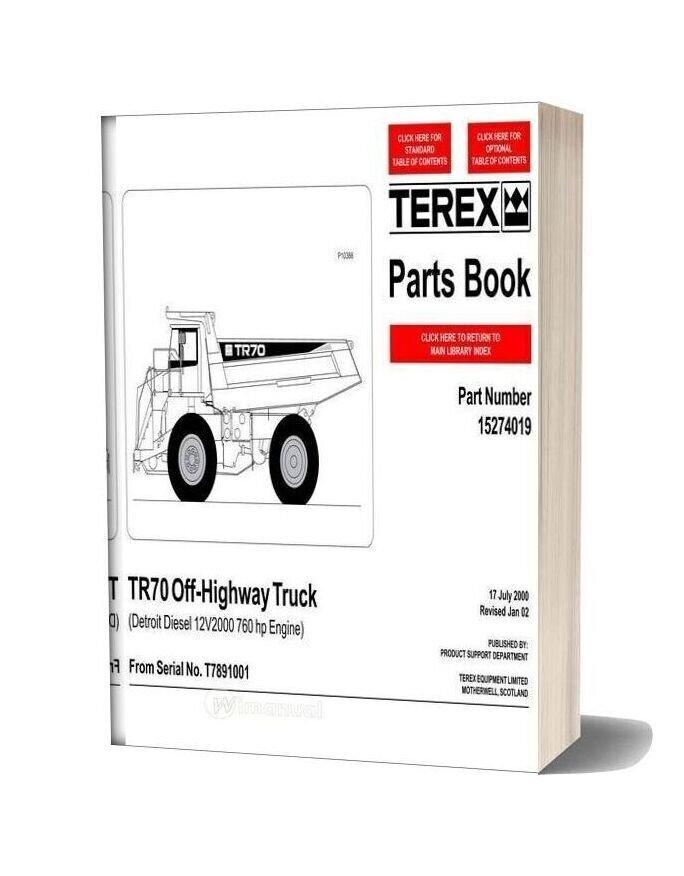 Terex Tr70 Off Highway Truck Parts Book