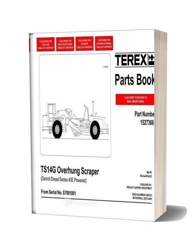 Terex Ts14g Overhung Scraper Parts Book