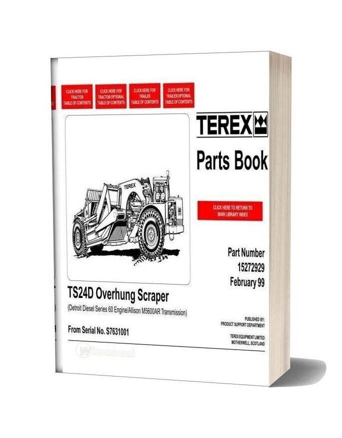 Terex Ts24d Overhung Scraper Parts Book