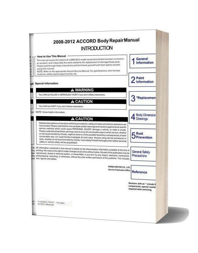 Toyota 2008 2012 Accord Body Repair Manual