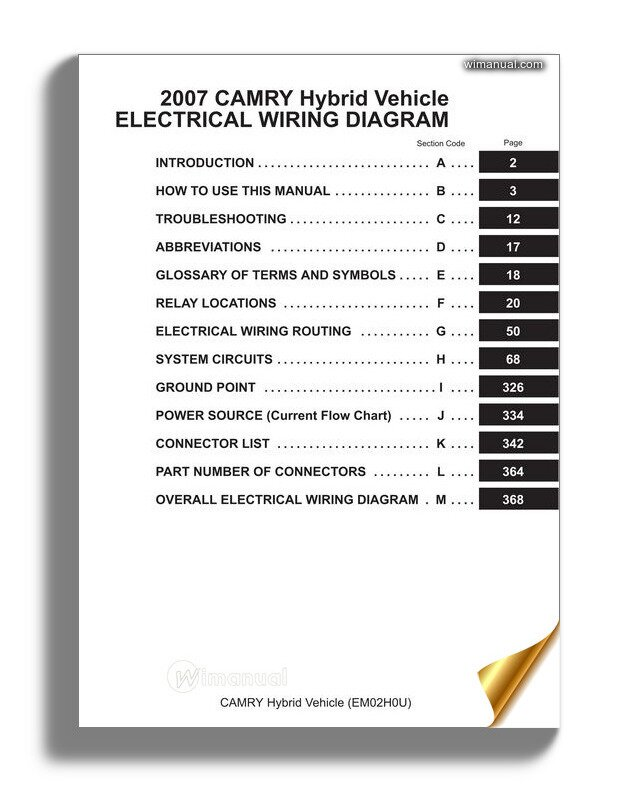 Toyota Camry Hybrid Electrical Wiring Manual