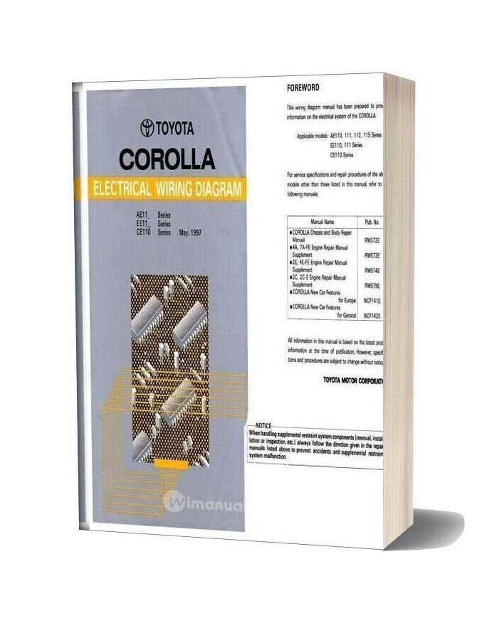 Toyota Corolla 1997 Workshop Manual