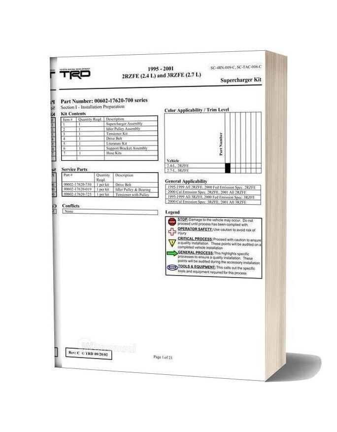 Toyota Engine 2rz 3rz Sc Repair Manual