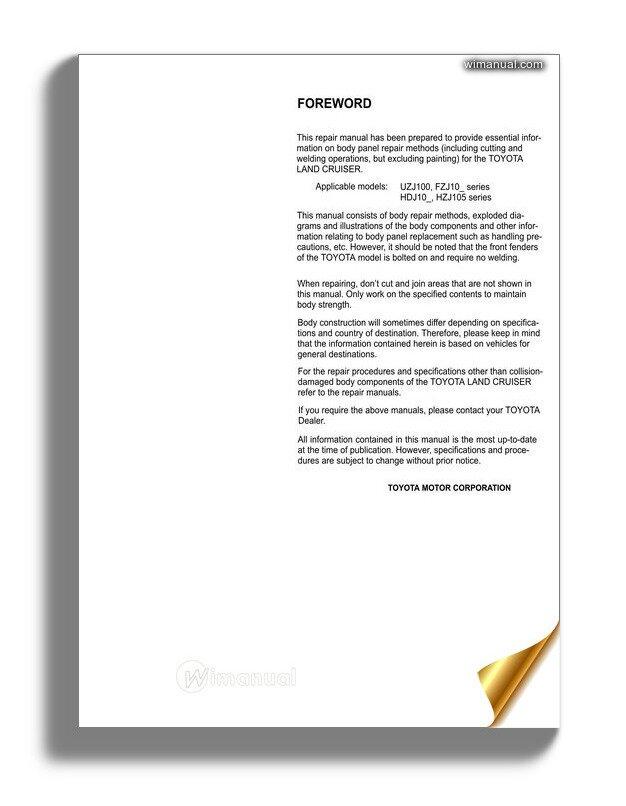 Toyota Land Cruiser 1998 2007 Body Repair Manual