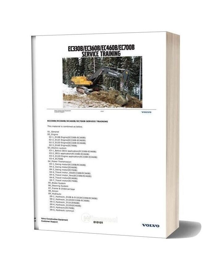 Volvo Construction Equipment Ec330b 360b Ec460b Ec700b Service Training