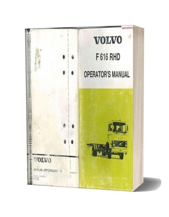 Volvo F 616 Rhd Right Hand Drive Operators Manual