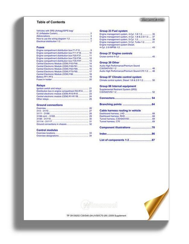 Volvo Supplement C30 S40 04 V50 C70 06 2009 Wiring Diagram
