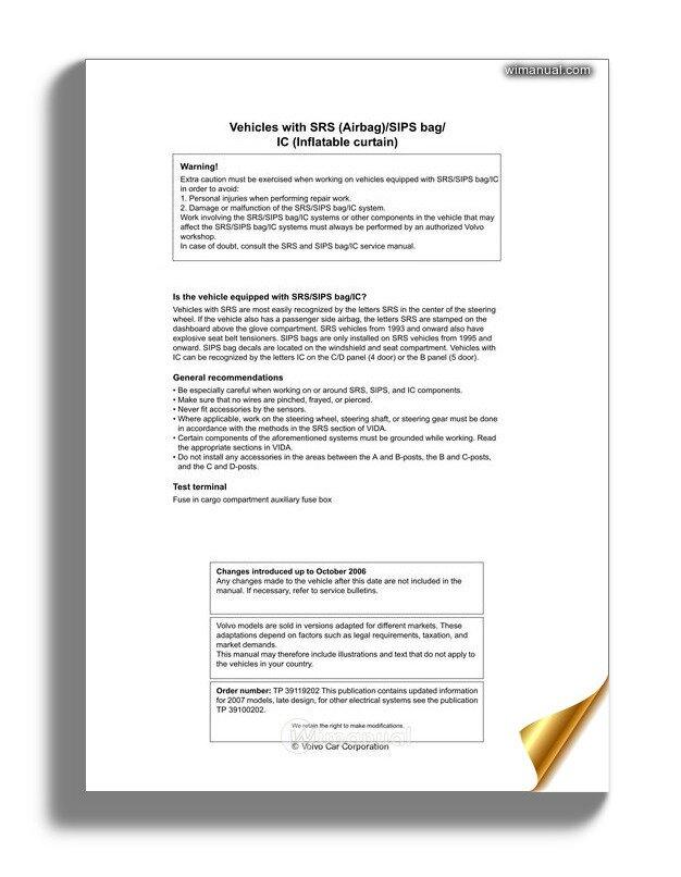 Volvo Supplement S80 07 2007 Wiring Diagram