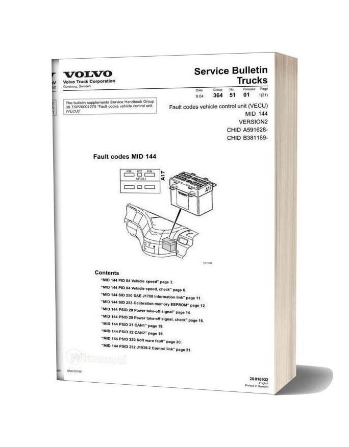 [SCHEMATICS_48DE]  Volvo Trucks Mid 144 Engine Control Unit Fault Codes | Volvo Vecu Wiring Diagram |  | WiManual