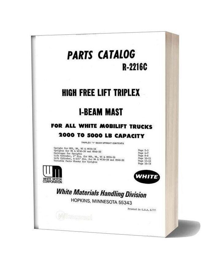 White Fork Lift Hight Free Lift Parts Catalog