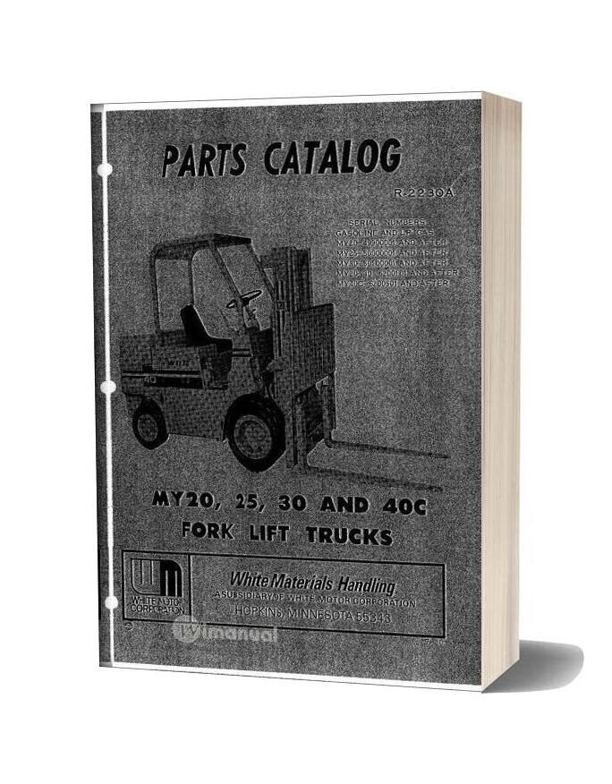 White Fork Lift My20 25 30 40c Fork Lift Trucks Parts Catalog