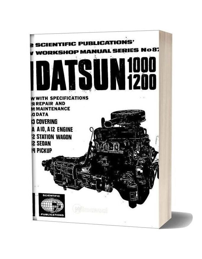 Workshop Manual Datsun 1000 And 1200 A10 A12 Station Wagon Sedan Pickup