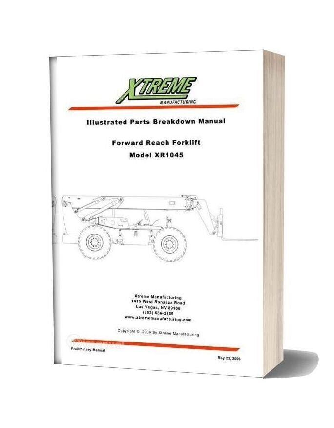 Xtreme Forward Reach Forklift Xr1045 Parts Manual