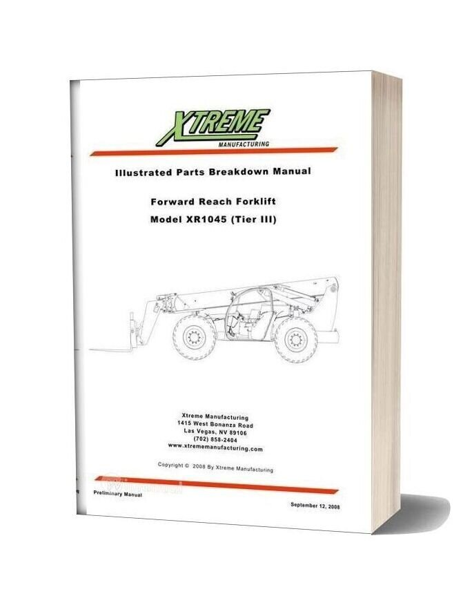 Xtreme Forward Reach Forklift Xr1045 Tier Iii Parts Manual