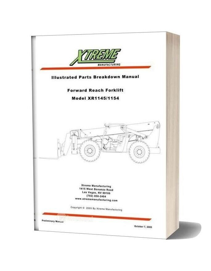 Xtreme Forward Reach Forklift Xr1145 1154 Parts Manual