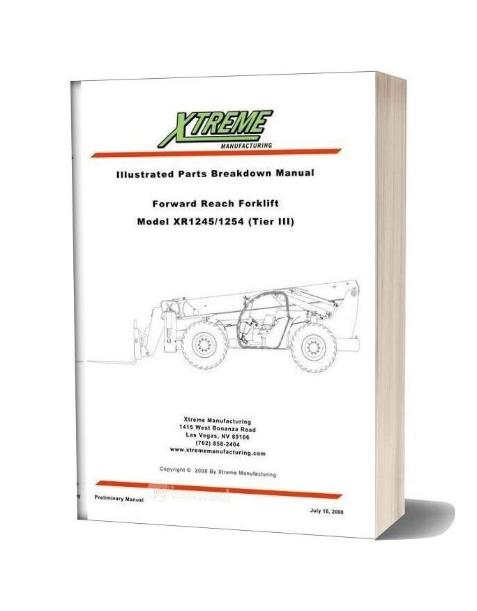 Xtreme Forward Reach Forklift Xr1145 1154 Tier Iii Parts Manual