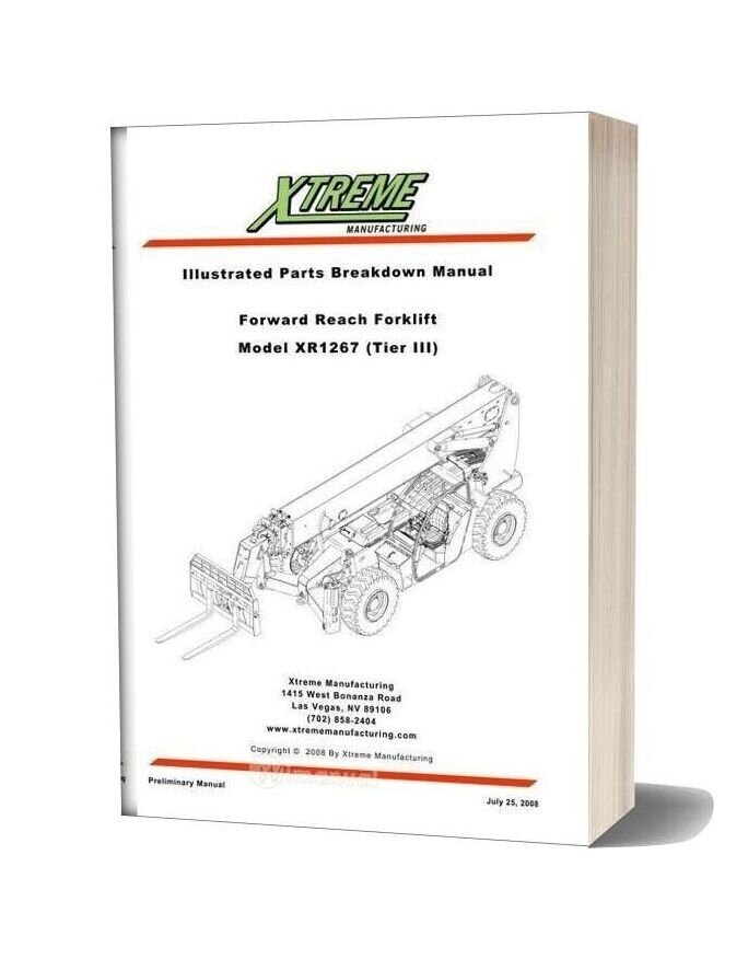 Xtreme Forward Reach Forklift Xr1267 Tier Iii Parts Manual