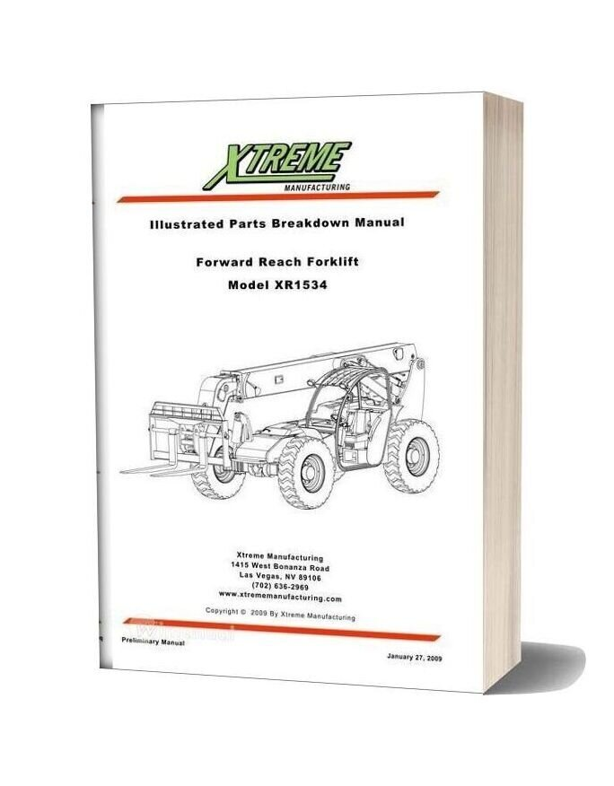 Xtreme Forward Reach Forklift Xr1534 Parts Manual