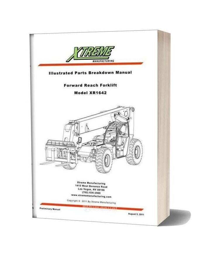 Xtreme Forward Reach Forklift Xr1642 Parts Manual