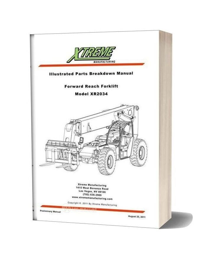 Xtreme Forward Reach Forklift Xr2034 Parts Manual
