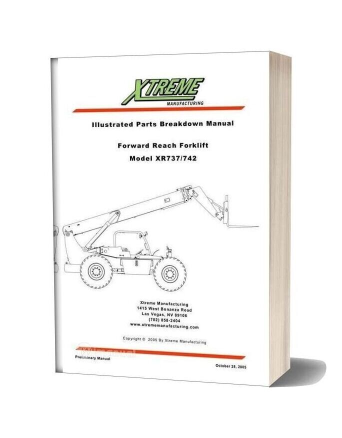 Xtreme Forward Reach Forklift Xr737 742 Parts Manual