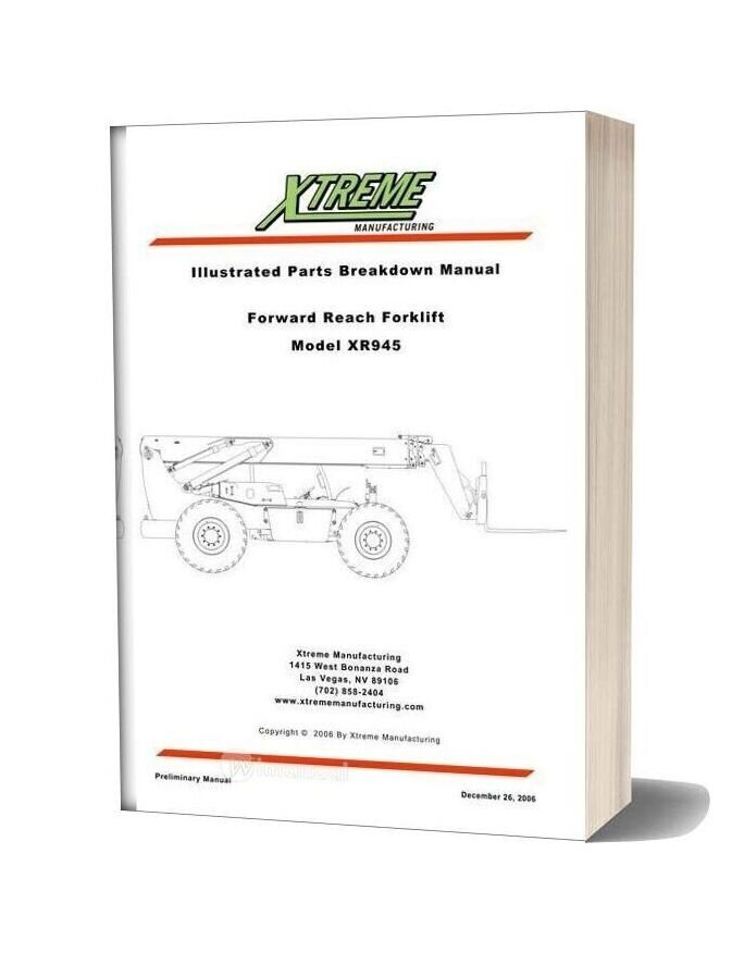 Xtreme Forward Reach Forklift Xr945 Parts Manual