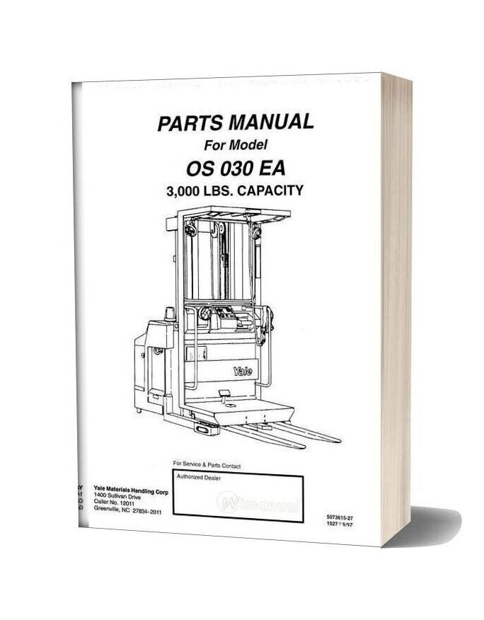 Yale Electric For Model Os 030 Ea Parts Manual