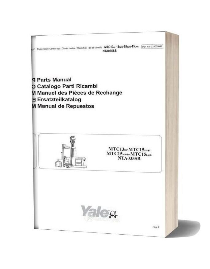 Yale Forklift Truck Mtc13 Mtc15 Parts Manual