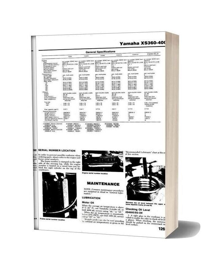 Yamaha Xs360 400 76 82 Service Manual