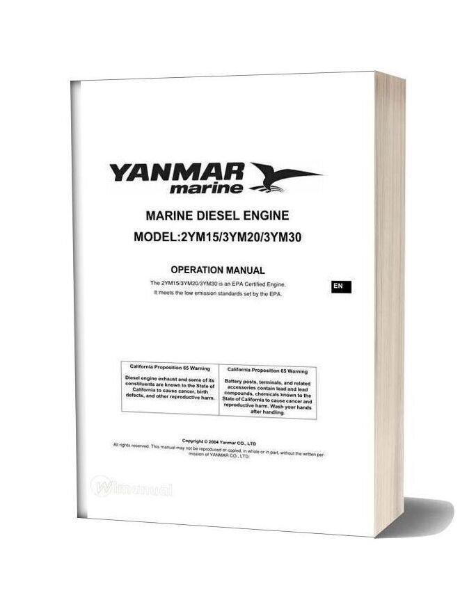 Yanmar 3ym30 3ym20 2ym15 Engine Operation Manual