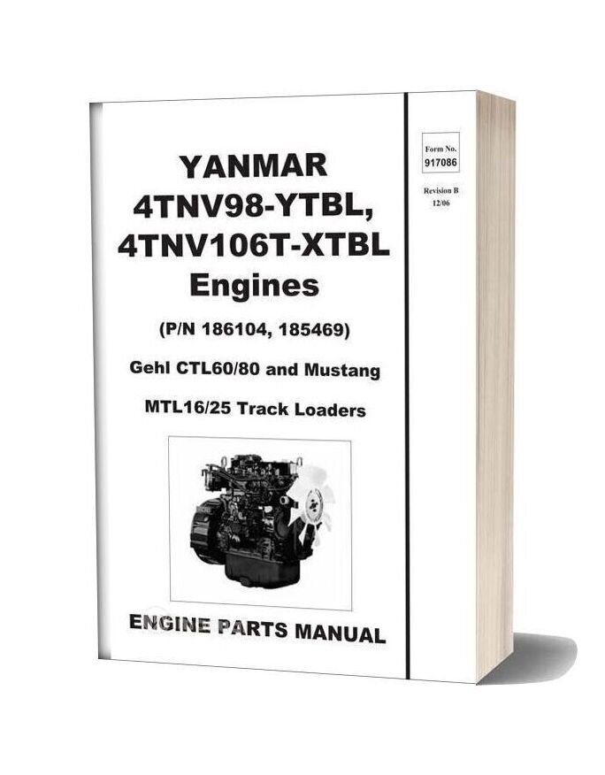 Yanmar Ctl60 Ctl80 Compact Track Loader Engine Parts Manual 917086b