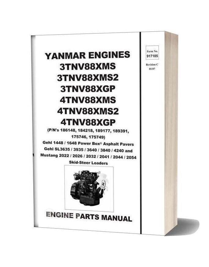 Yanmar Engine 917105c Sl3635 Sl3935 Sl3640 Sl38400 Sl4240 Parts Manual