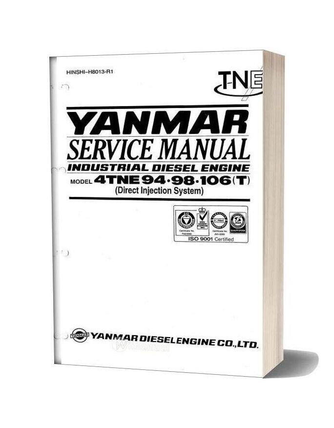 Yanmar Industrial Diesel Engine 4tne 94 98 106t Service Manual