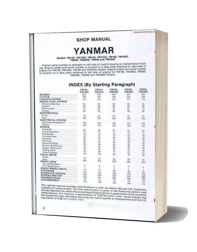 Yanmar Ym135 Ym330d Work Shop Manual