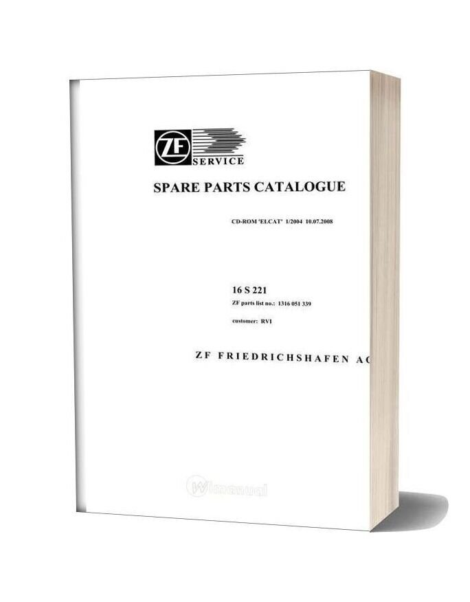 Zf 16s221 Renault Trucks 2008 Spare Parts Catalog