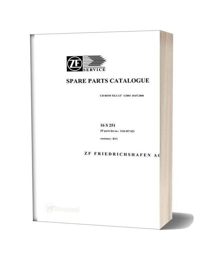 Zf 16s251 Renault Trucks 2008 Spare Parts Catalog