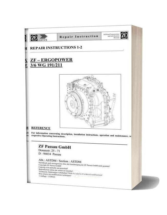 Zf 3 6 191 211 E Repair Manual