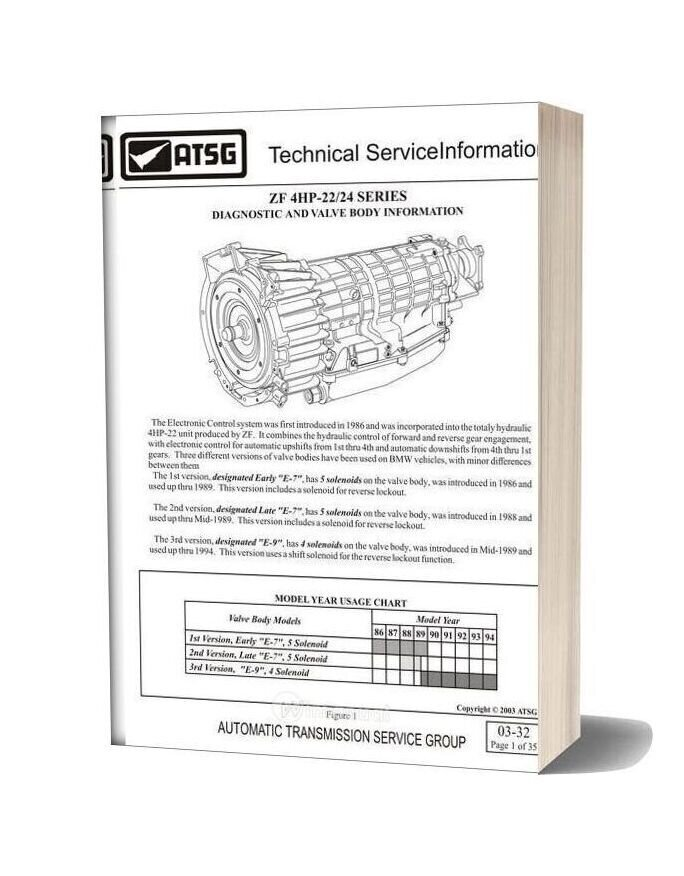 Zf 4hp 22 24 Automative Transmission Series Diagnostic Valve Body Information
