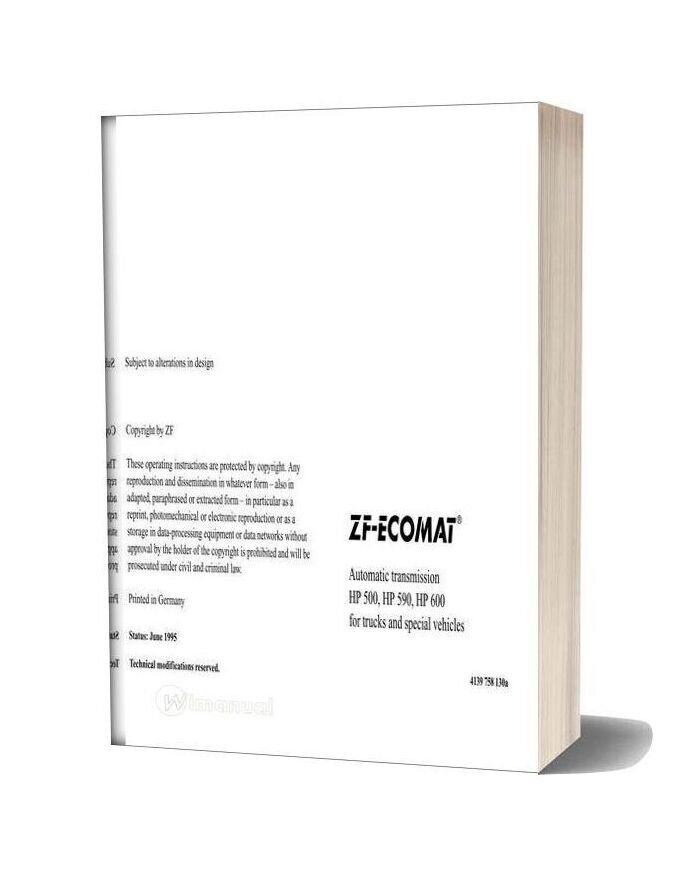 Zf Ecomat Automatic Transmission Hp500 590 600 Operating Instruction