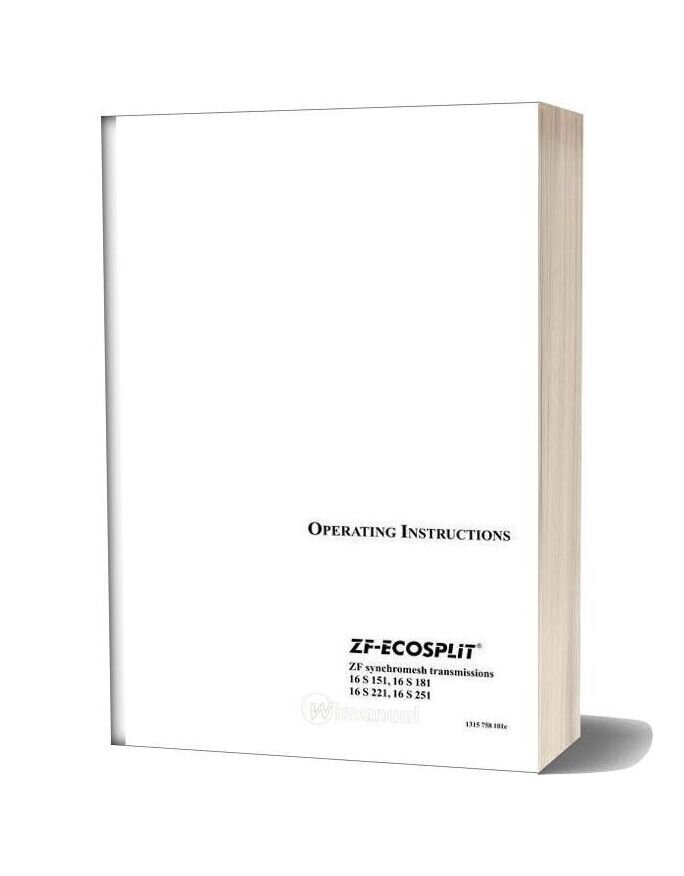 Zf Ecosplit 2001 Operating Instruction